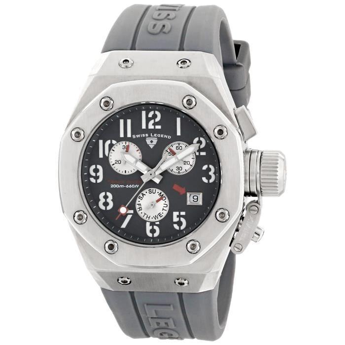SWISS LEGEND 10535-014 Trimix chronographe cadran gris gris montre en silicone ZGAQU