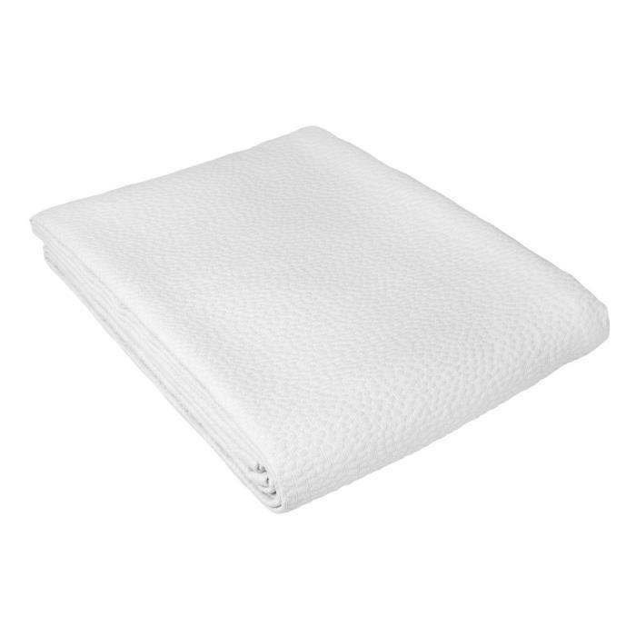 Dessus de lit Camargue coton motifs pois tissés jacquard blanc 180x250 - Toison d'Or