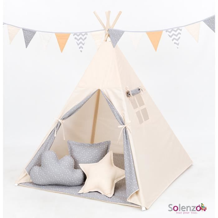 tipi beige pour chambre gar on fille achat vente tente. Black Bedroom Furniture Sets. Home Design Ideas