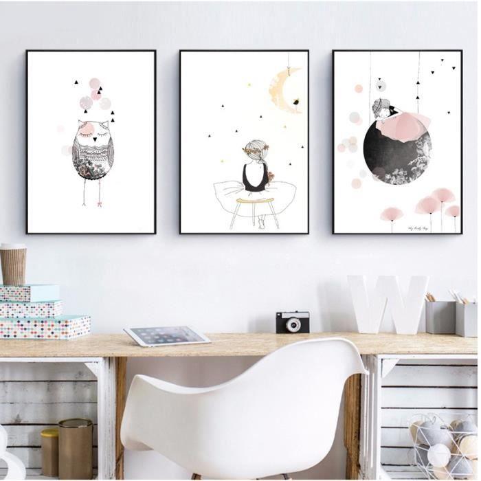 Enfants Fille Affiche Mignon Wall Art Print Fille Avec Fleurs Toile De Bande Dessinée Peinture Belle Image Pour Bébé Filles Chambre
