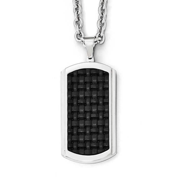 Incrustation en acier inoxydable poli Dog Tag Collier 24 cm