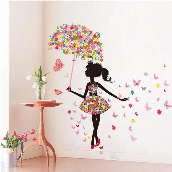 Sticker mural A Papillons Roses pour fille coller La chambre ...