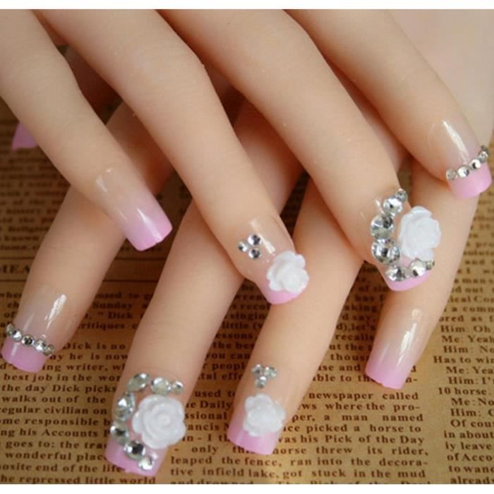 24pcs faux ongles pre d sign s avec fleur et rhinestone nail art d coration a1 achat. Black Bedroom Furniture Sets. Home Design Ideas