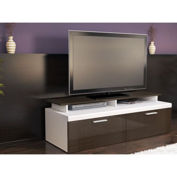 meuble tv blanc chocolat 140 cmv achat vente meuble tv meuble tv blanc chocolat 1 cdiscount. Black Bedroom Furniture Sets. Home Design Ideas