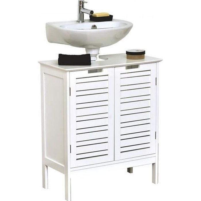 element sous lavabo 2 portes blanc miami achat vente. Black Bedroom Furniture Sets. Home Design Ideas
