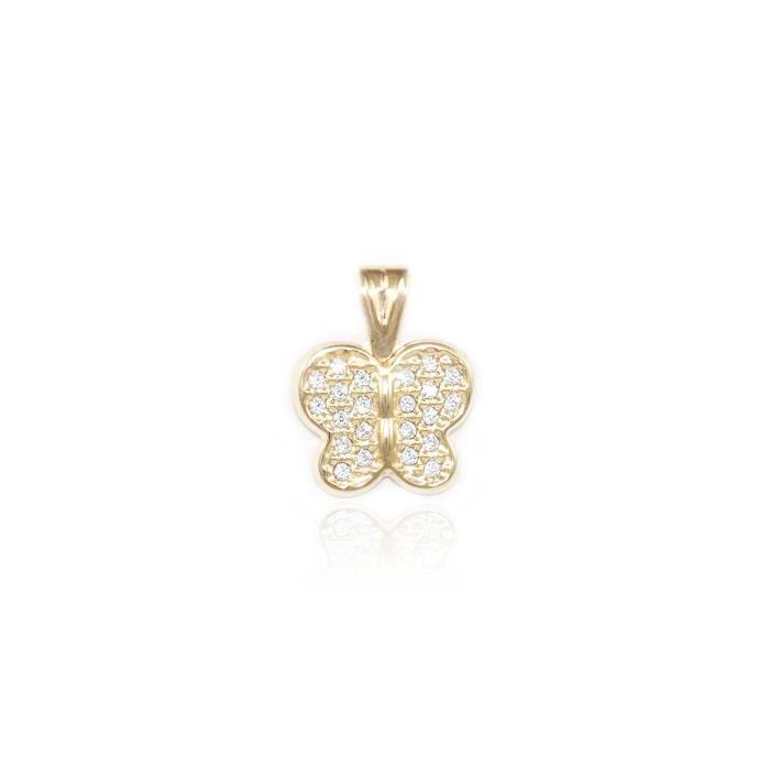 14k Or Jaune Zircone cubique papillon pendentif K5980