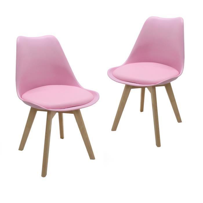 Lot de 2 chaises scandinaves rose