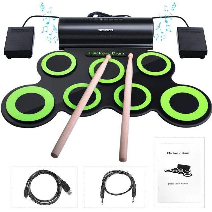 5 Pi/èces avec Support de Cymbales Eastar Kit de Batterie Noir de 55,88 cm Pleine Taille pour Adulte et Adolescent Baguette et Tabouret Noir
