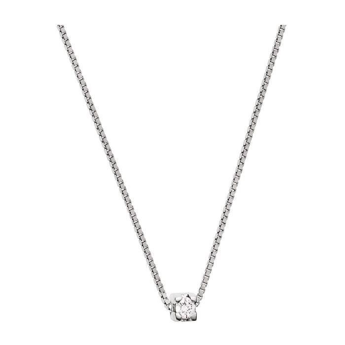 collier argent femme diamant