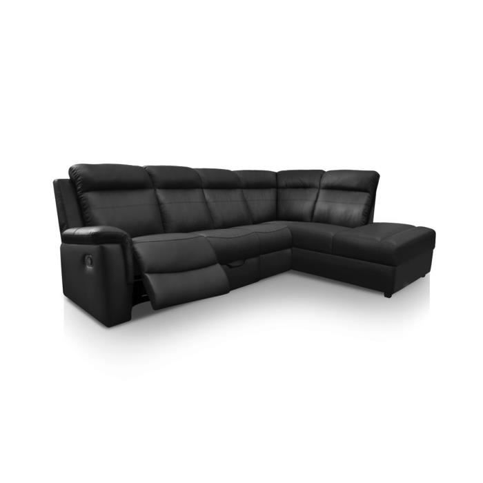 canap d 39 angle droit 5 places pu noir nuage achat vente canap sofa divan cdiscount. Black Bedroom Furniture Sets. Home Design Ideas