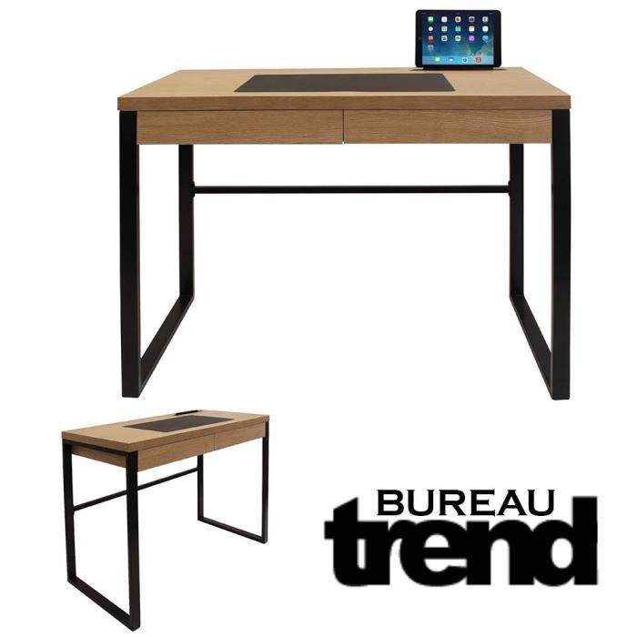 bureau industriel trend bois et metal noir noir achat. Black Bedroom Furniture Sets. Home Design Ideas