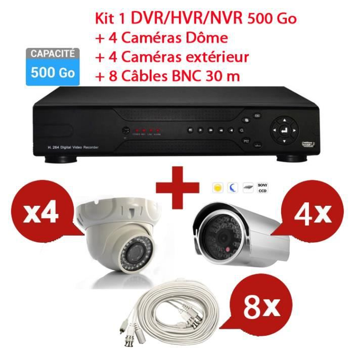 kit enregistreur 500go vid o surveillance 8cam ras prix pas cher cdiscount. Black Bedroom Furniture Sets. Home Design Ideas