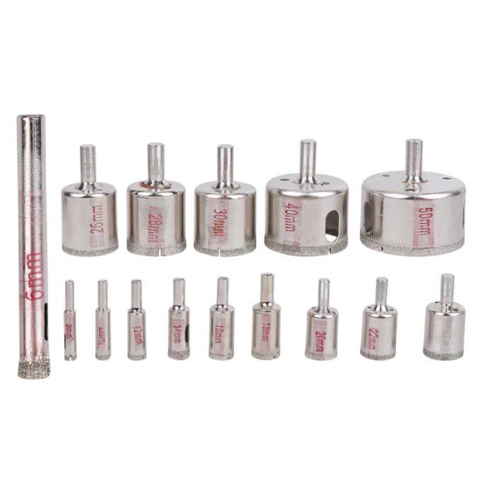 6-50mm 15pcs Diamant Foret Verre Trou Ouvreur Perle Scie De Trou Poli Pour Carreaux De Granit En C/éramique En Porcelaine De Marbre