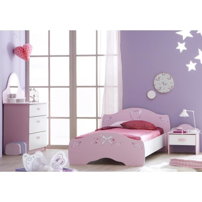 ensemble lit enfant 90x190 200 chevet commo rose achat vente chambre compl te b b. Black Bedroom Furniture Sets. Home Design Ideas