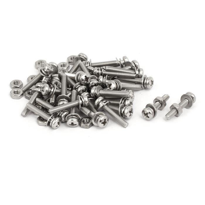 Vis M2,5 x 6mm acier inox 304 t/ête cruciforme /écrou vis vis rondelle fixe 45 Sets