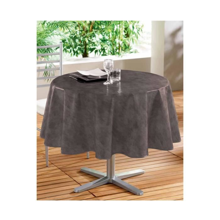 toile cir e ronde chocolat marron achat vente nappe de table cdiscount. Black Bedroom Furniture Sets. Home Design Ideas