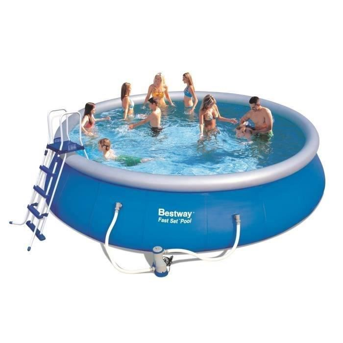 Bestway kit piscine ronde fast set pools autoportante 5 for Bestway piscine