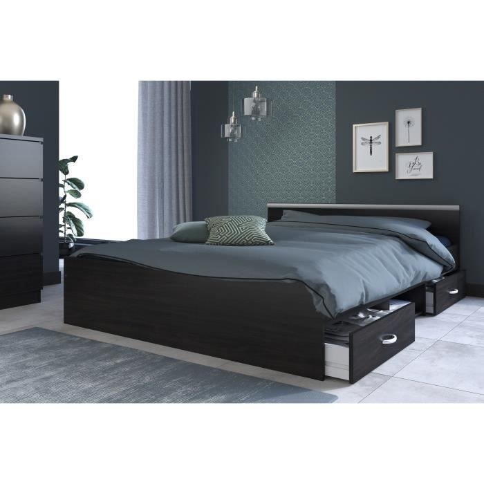 lit 2 personnes avec rangement achat vente lit 2. Black Bedroom Furniture Sets. Home Design Ideas