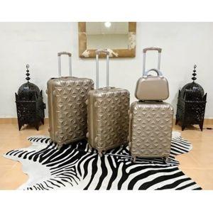 SET DE VALISES Set 3 valises + Vanity, 4 roues pivotantes CHAMPAG
