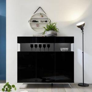 BUFFET - BAHUT  Buffet 3 portes Laqué Noir à LEDs - TARENTE n°1 -