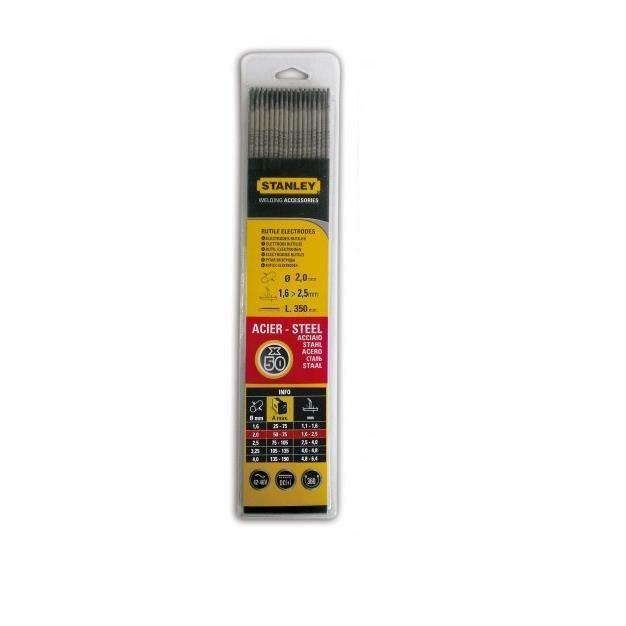 STANLEY 460825 Lot de 50 électrodes rutiles acier - Ø 2,5 mm - L 350 mm - Baguettes de soudure