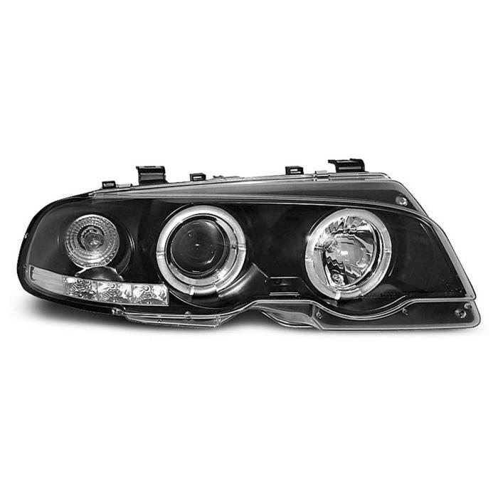 Paire de phares BMW serie 3 E46 99-03 angel eyes noir