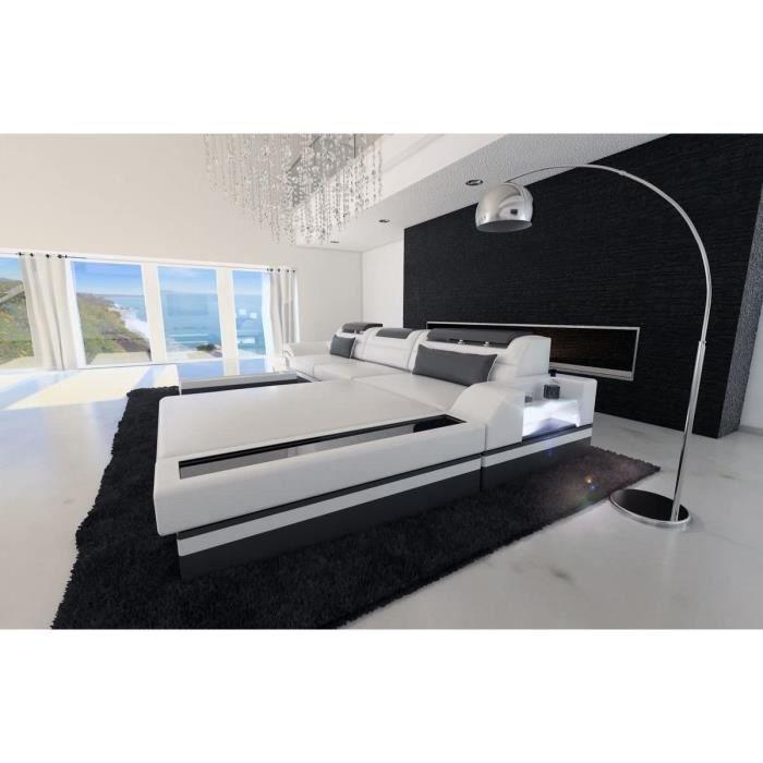 Sofa Dreams Cuir Canapé Parme En Forme De L Blanc-Gris