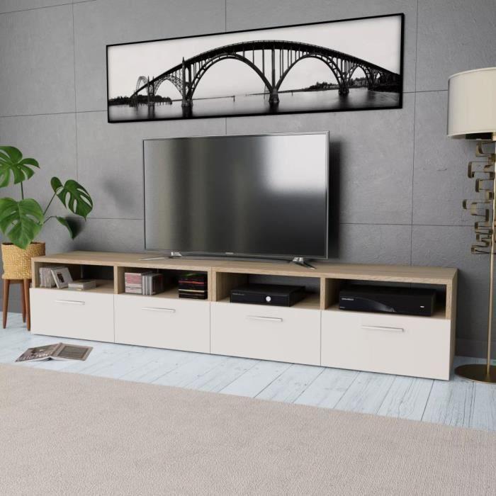 Elégant Meuble TV Design - Meuble de rangement Meuble de Télévision 2 pcs Aggloméré 95 x 35 x 36 cm Chêne et blanc ☺79047