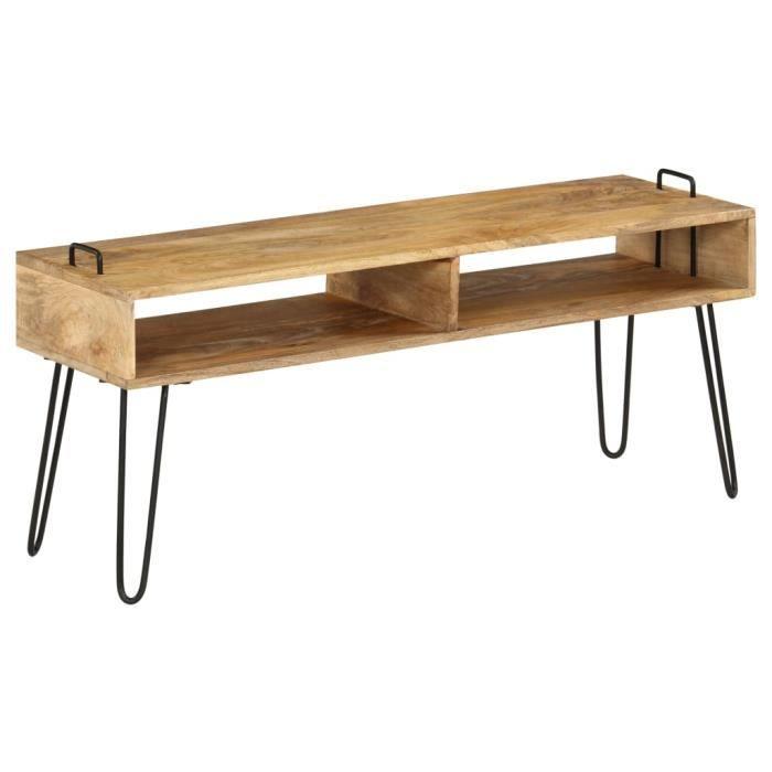 MAISON��- Meuble TV -Meuble HIFI-TABLE DE SALON Bois de manguier massif 110 x 35 x 45 cm☺5675