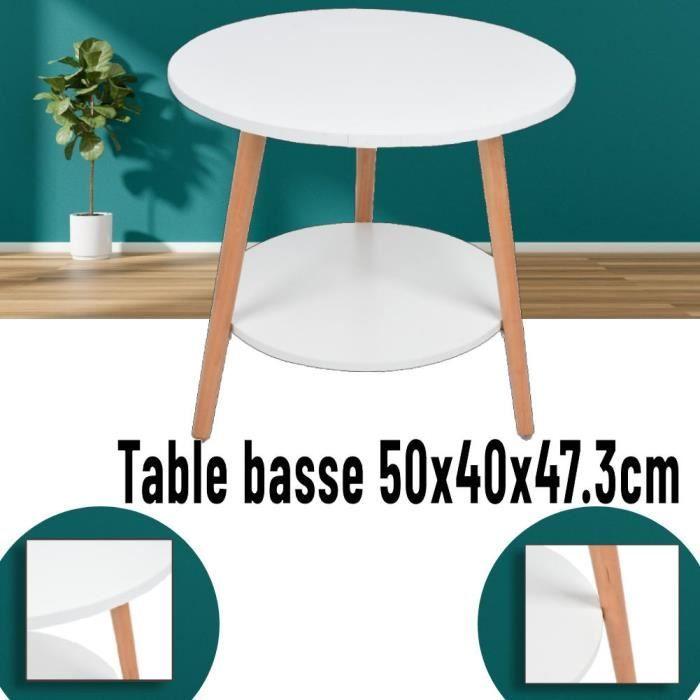 Luloboutique - Table basse ronde 50x47.3cm panneau de densité + bois blanc - 05250