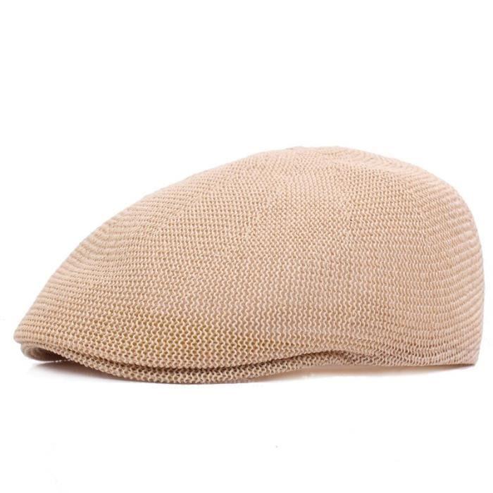 Bonnet,Bérets d'été pour hommes, casquette plate en maille, style militaire, respirant, avec fil d'herbe, pour papa, - Type Beige