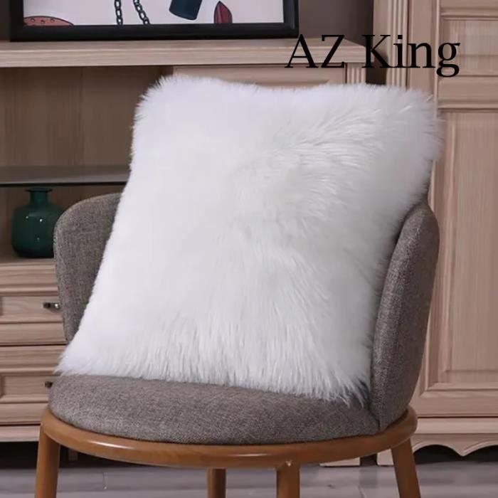AZ KING-Housse de Coussin 50X50cm Blanc, Fausse Fourrure Deluxe Décoratif Pour Chambre Lit Super Doux Peluche