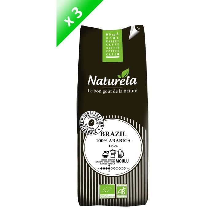 NATURELA Lot de 3 Cafés Brazil 100% Arabica Moulu 250g