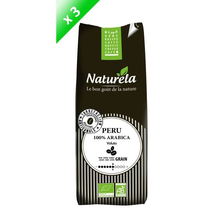 NATURELA Lot de 3 Cafés Pérou 100% Arabica Grain 250g