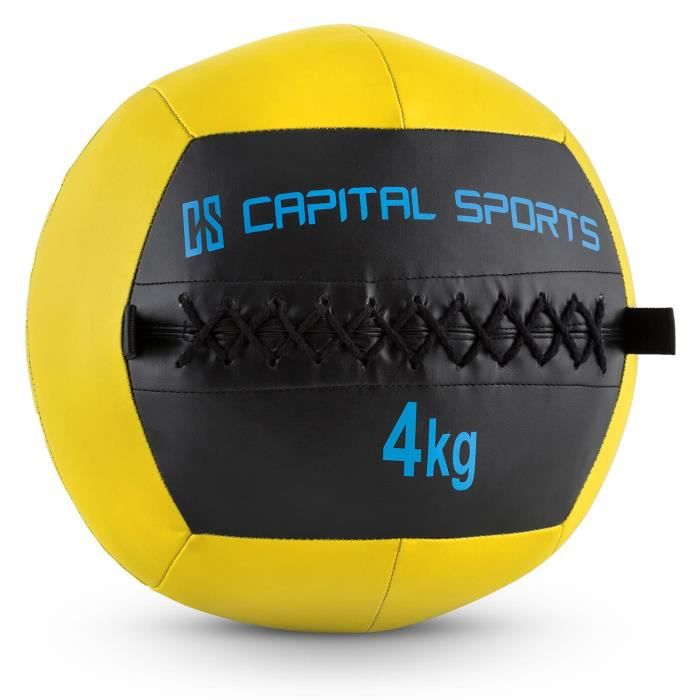 CAPITAL SPORTS Wallba - Medecine ball cuir synthétique pour exercices core & entrainement fitness, cross-training, muscu, MMA - 4kg