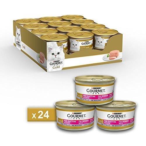 Gourmet purine Gold Humide Chat Mousse pour Chatons avec Veau – 24 canettes de chacune 85 g (Pack de 24 x 85 g) 12243141