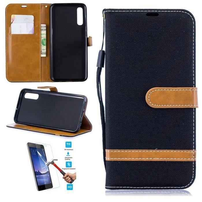 Etui Samsung Galaxy A30S A50S Portefeuille Noir + Film Verre Trempé Coque Housse En Cuir Pu hfs-house®