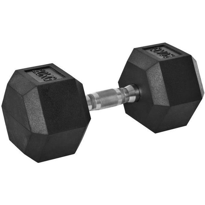 Haltère courte poids 20 Kg - entraînement musculaire & haltérophilie - acier caoutchouc noir 35x16x16cm Noir