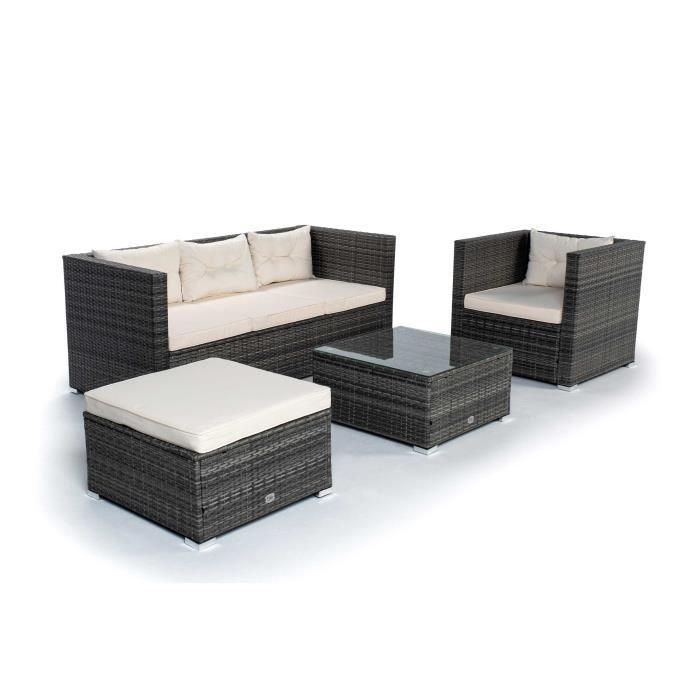 KieferGarden - Ensemble de meubles de jardin et terrasse, 5 places, gris, rotin synthétique, modulable
