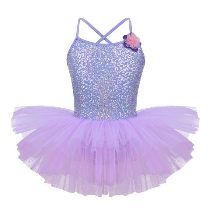 Justaucorps de Danse Fille Enfant Classique Robe de Ballet Tutu Paillettés Jupe de Gymnastique Body Princesse Bal Patinage 4-12 Ans