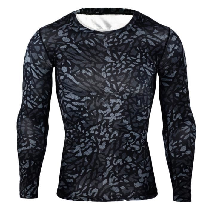 Maillot Compression À Manches Longues Tops Homme Sports Musculation Respirant 9 S