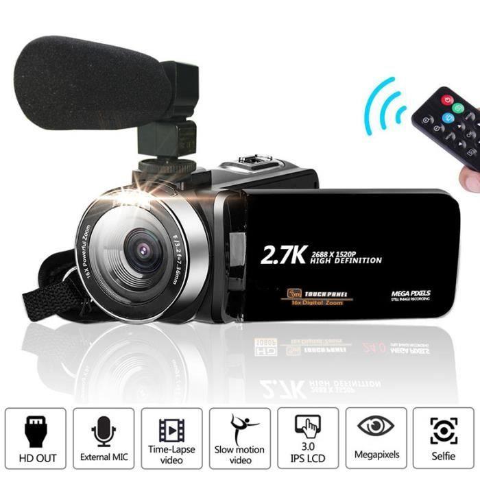 Caméscope vidéo Full HD 1080P Vlog Camera 30MP 16X Zoom numérique LCD