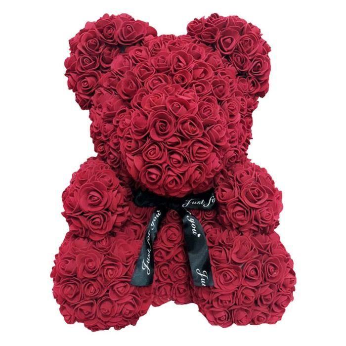Rose Fleur Saint Valentin Ours Des Rose pour Cadeau d'anniversaire Cadeau de la Saint-Valentin Décoration de Mariage Vieux rouge