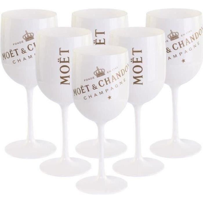 TL21320-6 Verres à vin,Moët Chandon Champagne,blanc-or en acrylique Gobelet
