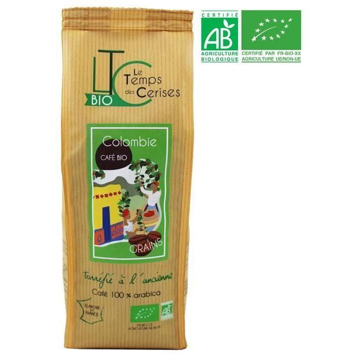 LE TEMPS DES CERISES Café Grain Colombie Bio 250 g