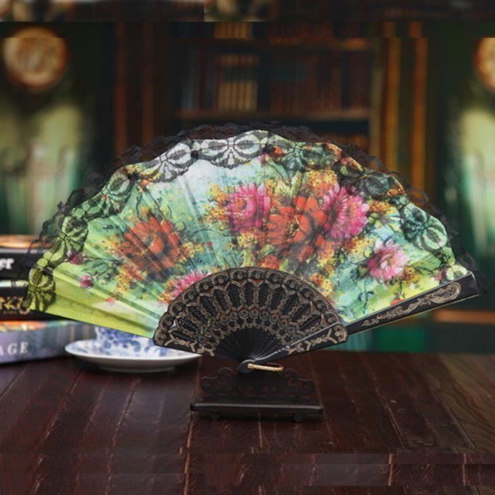 VENTILATEUR VENTILATEUR  Style Chinois Tenue dentelle main Fan