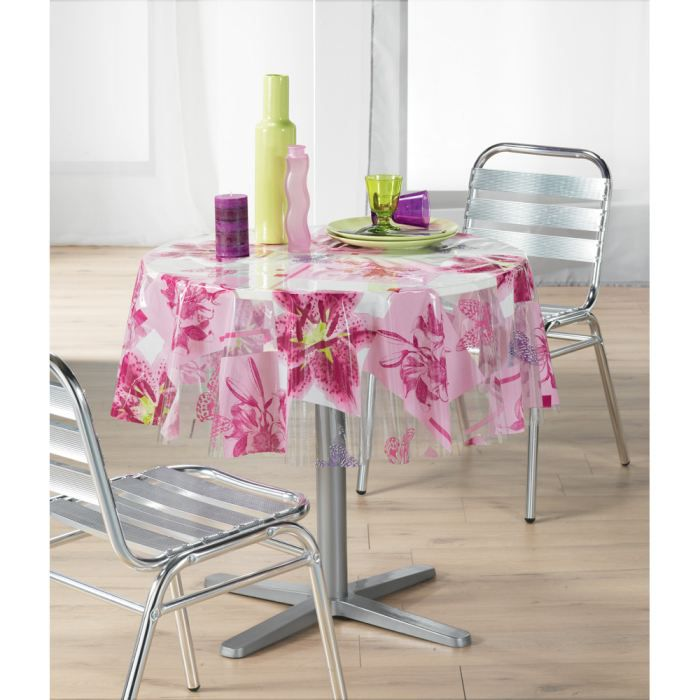 nappe pvc amaryllis transparent ronde 140 cm achat vente nappe de table cdiscount. Black Bedroom Furniture Sets. Home Design Ideas