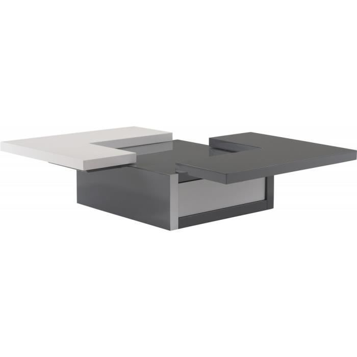 Table Basse Design Laque Blanc Et Gris Anthracite Plateau Excentre