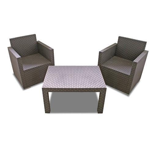 Salon de jardin en osier synthétique 2 chaises - Achat ...