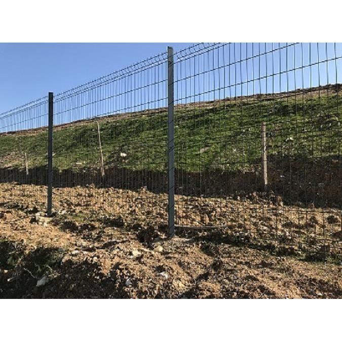 CLÔTURE - GRILLAGE Kit de 5 ml clôture rigide Pro 1,93 m Gris compren